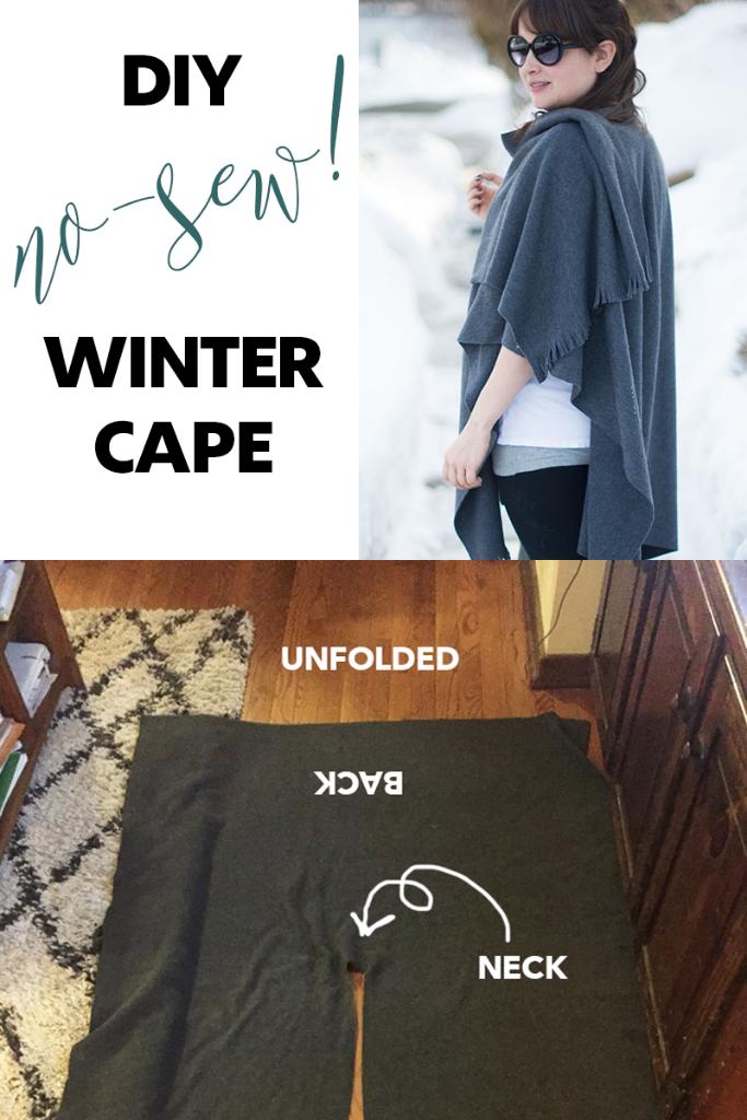 DIY no-sew winter cape
