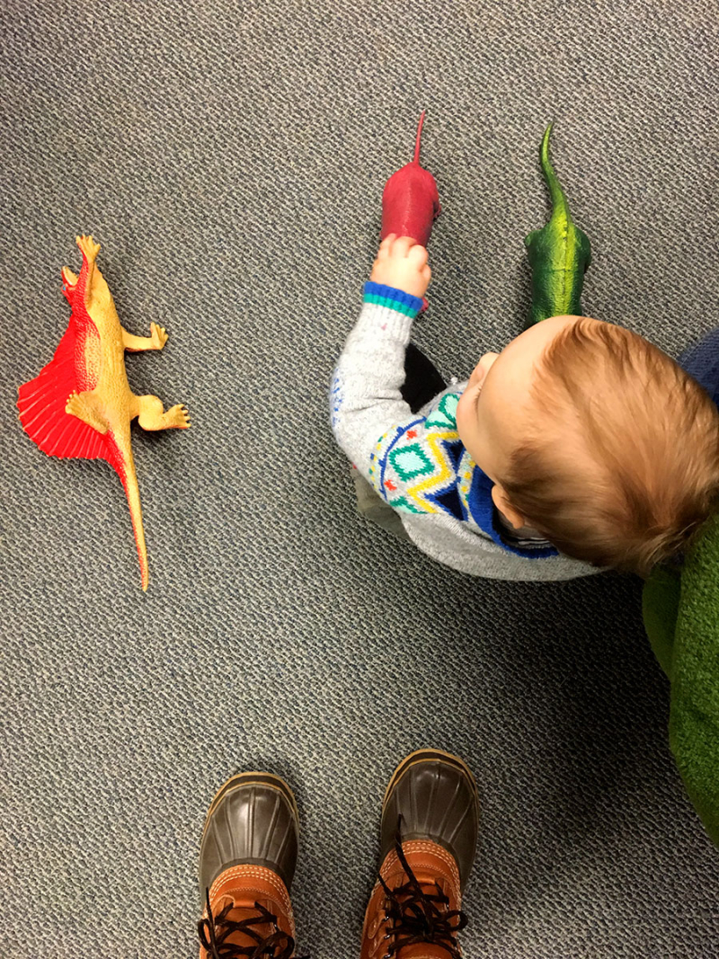 Playing with dinosaurs at the library