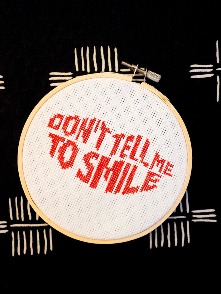 Don't tell me to smile cross stitch pattern