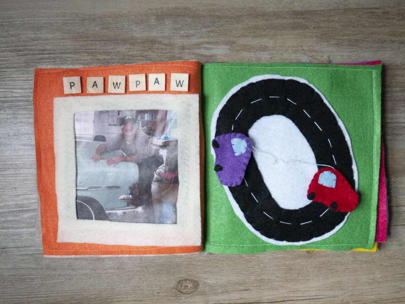 A family-themed DIY quiet book