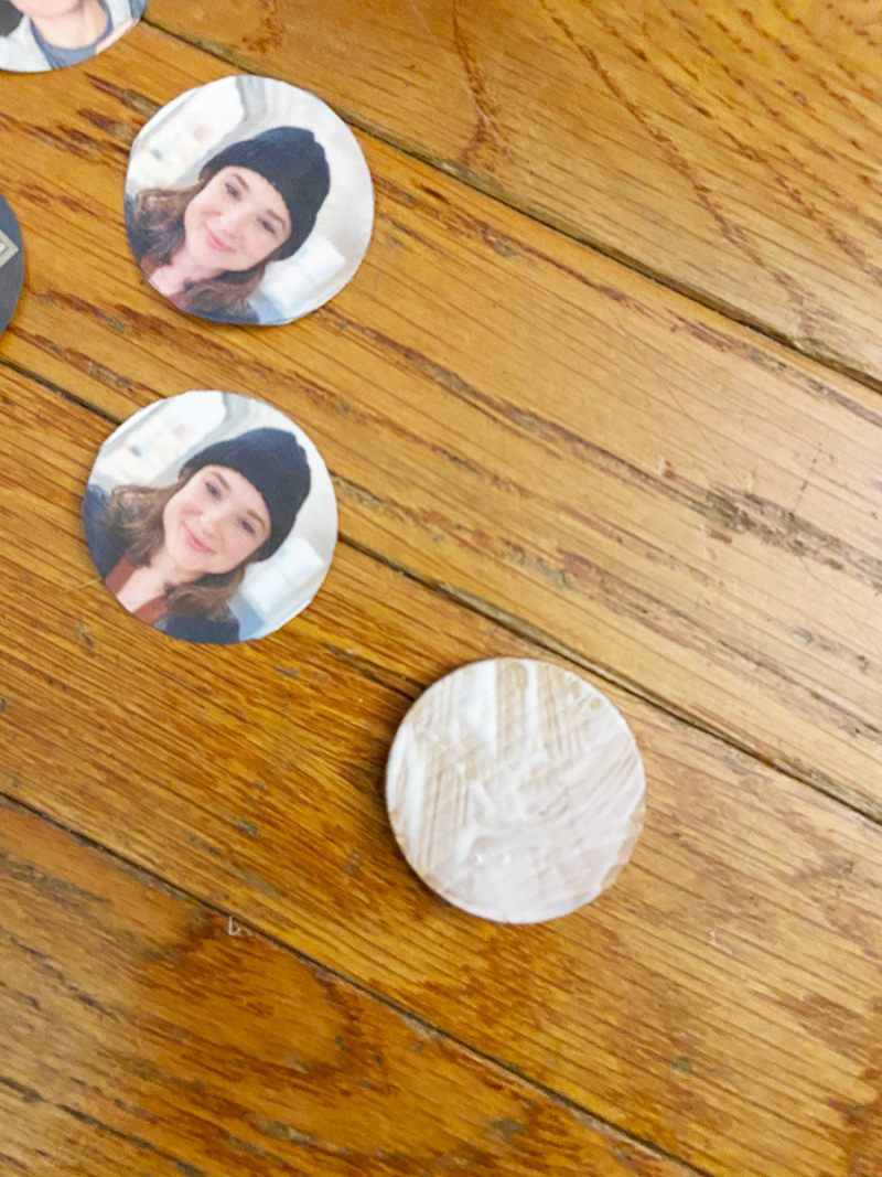 A process photo from making a wooden family photo memory game