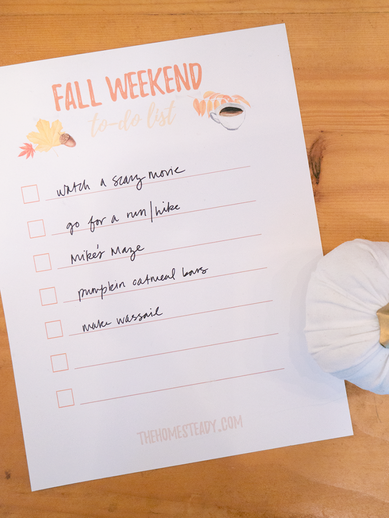 A checklist titled Fall Weekend To-Do List with items handwritten watch a scary movie, go for a run/hike, mike's maze, pumpkin oatmeal bars, make wassail