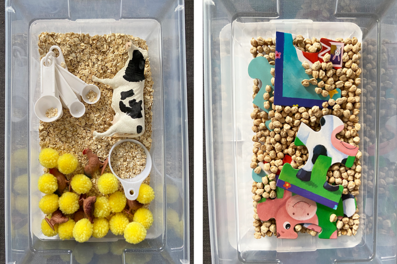 Two farm-themed activity boxes are pictured