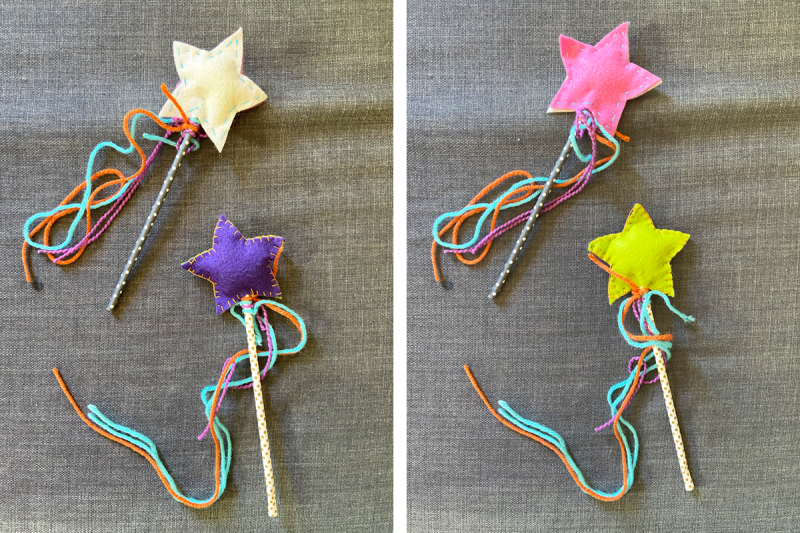 Two photos are side by side and show the front and back of two homemade magic wands. They are made from paper straws, colorful yarn, and felt stuffed stars.